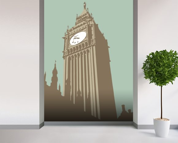 Big Ben mural wallpaper room setting
