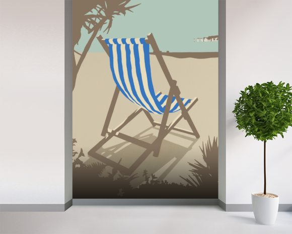 Bournemouth Blue Deckchair wallpaper mural room setting