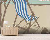 Bournemouth Blue Deckchair wallpaper mural living room preview