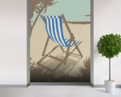 Bournemouth Blue Deckchair wallpaper mural in-room view