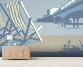 Bournemouth Pier and Deckchairs wall mural living room preview