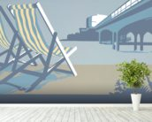 Bournemouth Pier and Deckchairs wall mural in-room view