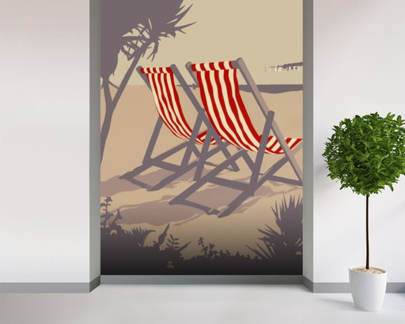 Bournemouth Red Deckchair wallpaper mural room setting