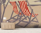 Bournemouth Red Deckchair wallpaper mural living room preview