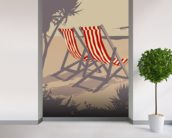 Bournemouth Red Deckchair wallpaper mural in-room view