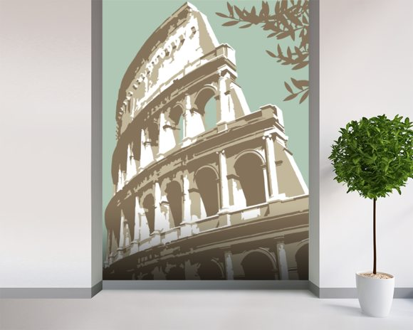 Rome Colosseum mural wallpaper room setting