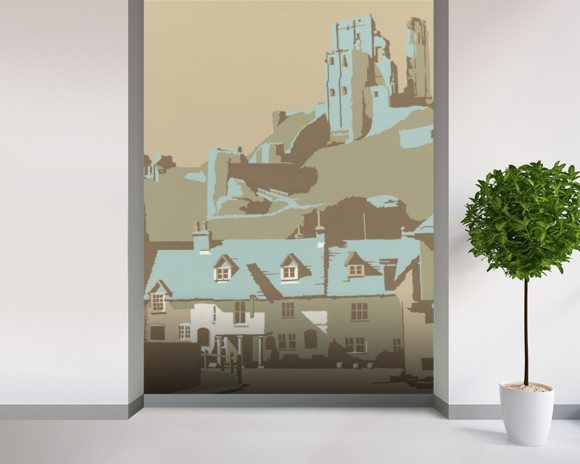Corfe Castle wall mural room setting