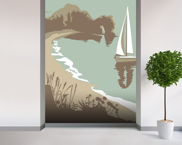 Durdle Door mural wallpaper room setting
