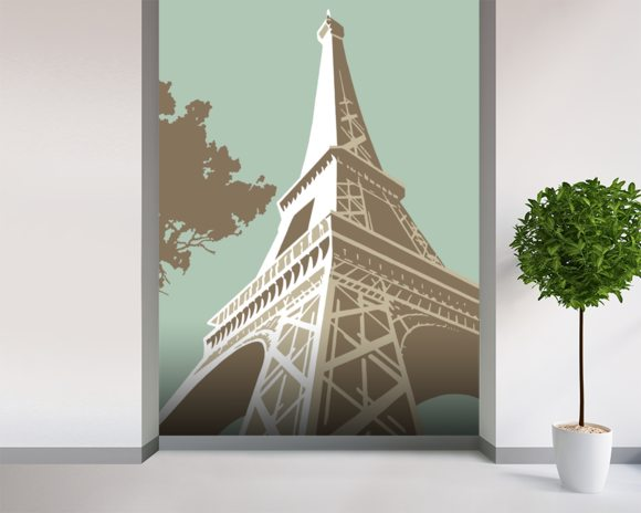 Eiffel Tower wall mural room setting
