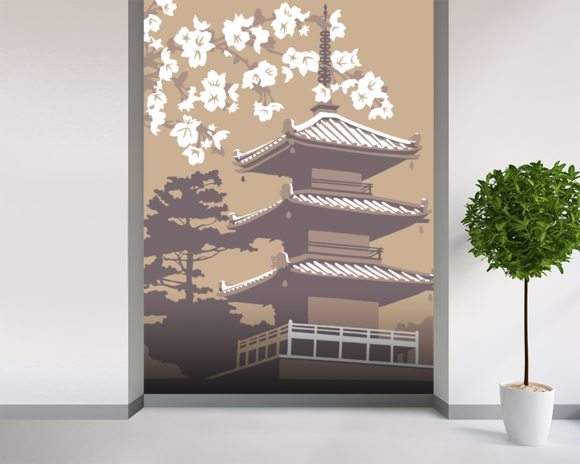 Japan mural wallpaper room setting
