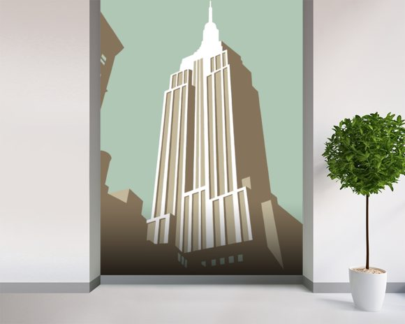 Manhattan mural wallpaper room setting