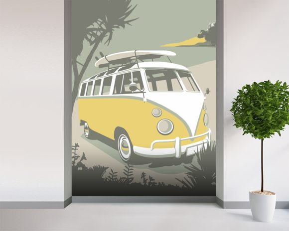 Marazion Camper mural wallpaper room setting