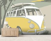 Marazion Camper mural wallpaper living room preview