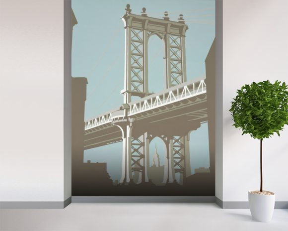 New York wall mural room setting