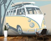 Newquay Camper mural wallpaper kitchen preview