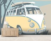 Newquay Camper mural wallpaper living room preview