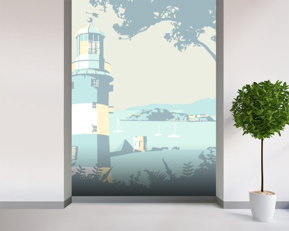 Plymouth Lighthouse mural wallpaper room setting