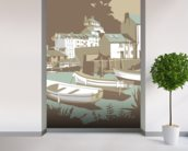 Polperro wall mural in-room view