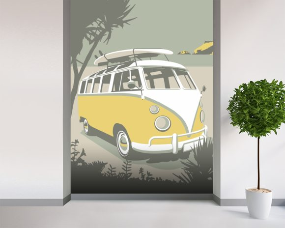 Polzeath Camper wallpaper mural room setting