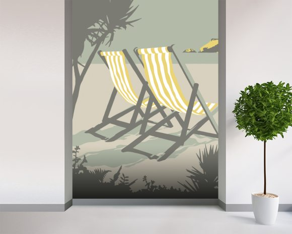 Polzeath Deckchairs mural wallpaper room setting