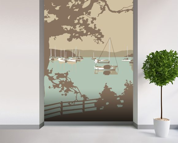 Poole Harbour View wallpaper mural room setting