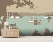 Poole Harbour View wallpaper mural living room preview
