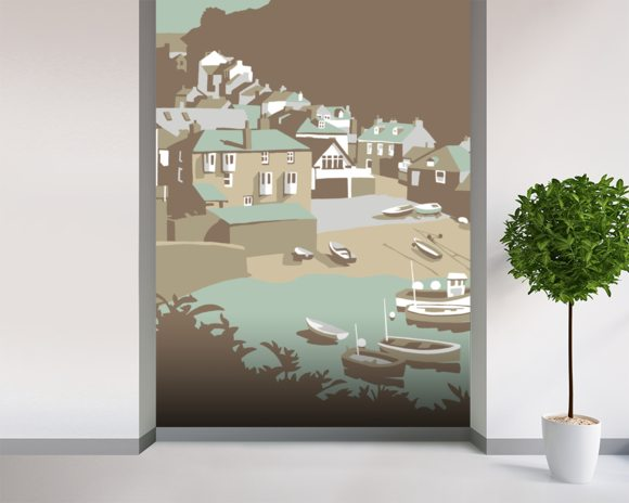 Port Issac mural wallpaper room setting