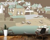Port Issac mural wallpaper kitchen preview
