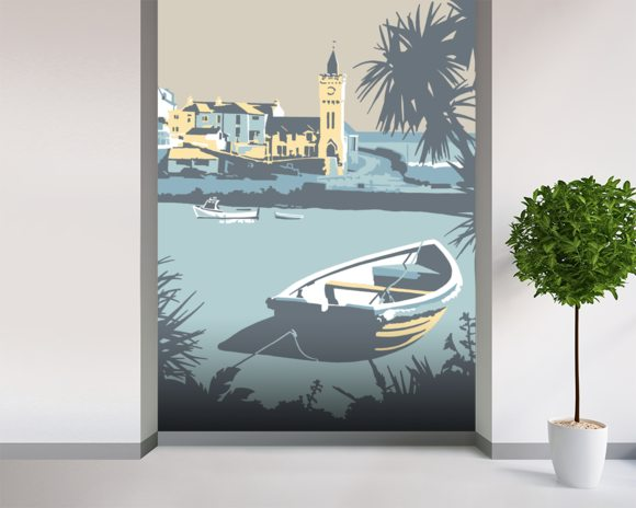 Porthleven wall mural room setting