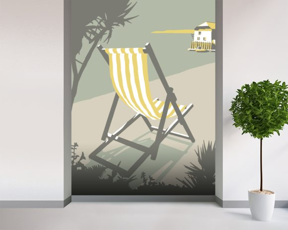 Rock Deckchair wallpaper mural room setting