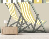 Southwold Deckchairs wallpaper mural living room preview