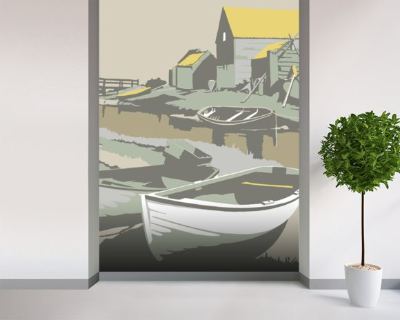 Southwold Harbour 2 mural wallpaper room setting