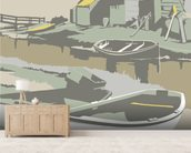 Southwold Harbour 2 mural wallpaper living room preview
