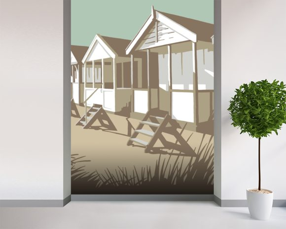 Southwold Huts wallpaper mural room setting