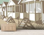 Southwold Huts wallpaper mural living room preview
