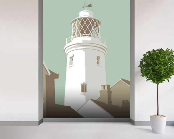 Southwold Lighthouse mural wallpaper room setting