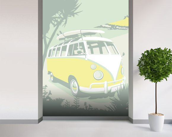 St Ives Camper wallpaper mural room setting