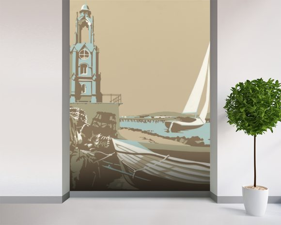 Swanage Tower mural wallpaper room setting