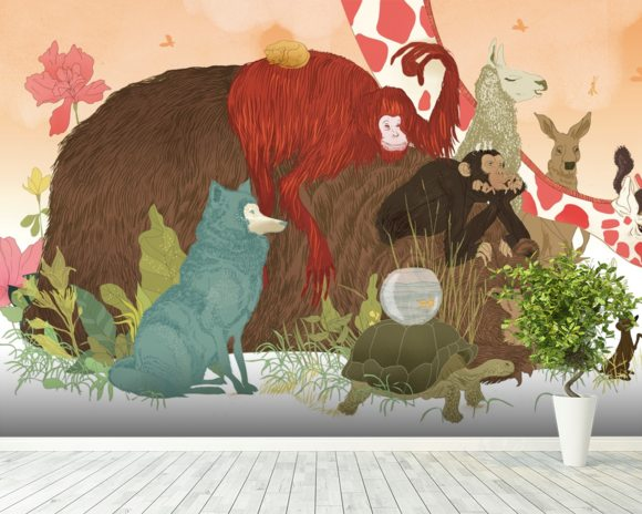 Animal talk wall mural room setting