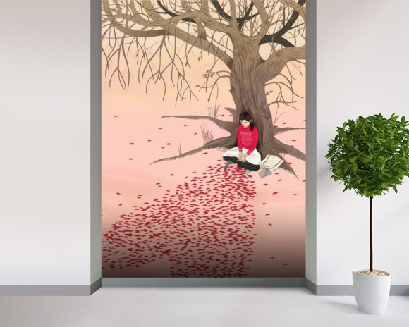 Love letter wallpaper mural room setting