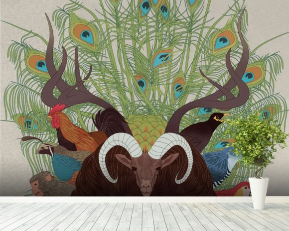 Fauna mural wallpaper room setting