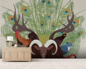 Fauna mural wallpaper living room preview