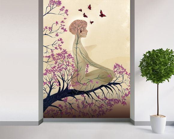 Mind of a meditator wall mural room setting
