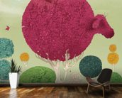 Spherical cow mural wallpaper kitchen preview