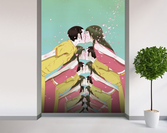 Spring love wall mural room setting