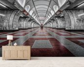 Prague Metro mural wallpaper living room preview