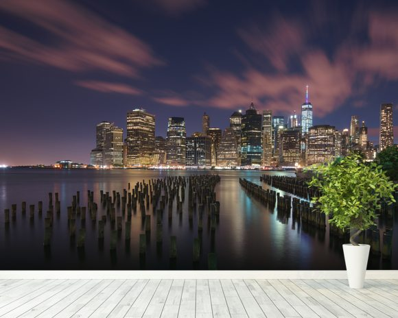 New York City at Night mural wallpaper room setting
