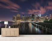 New York City at Night mural wallpaper living room preview