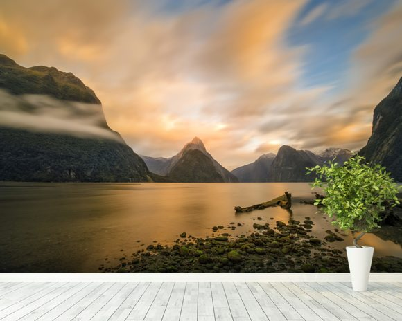 Milford Sound Sunrise wallpaper mural room setting