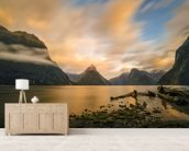 Milford Sound Sunrise wallpaper mural living room preview